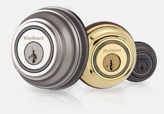 Set of three Kwikset Kevo locks in different colours.